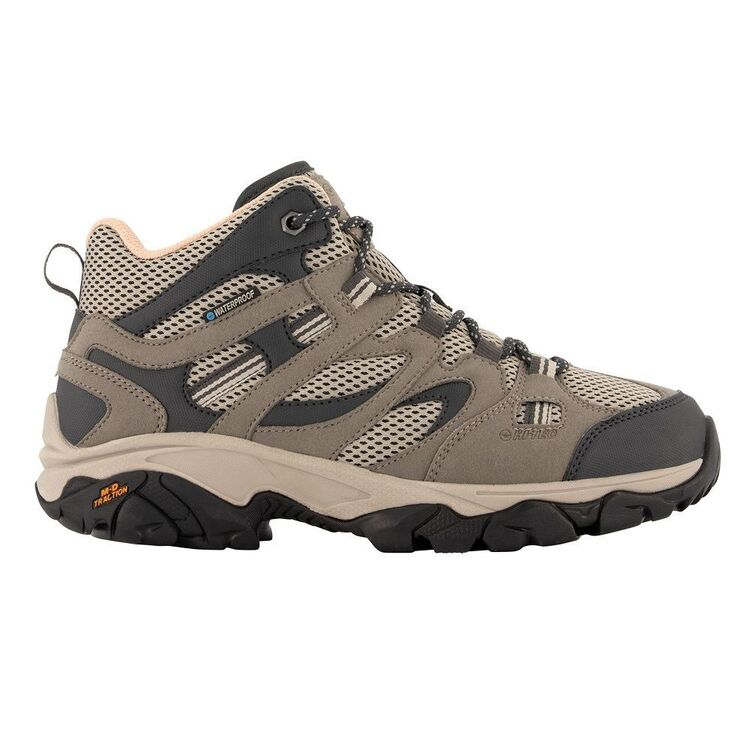 HI-TEC Women's Ravus Vent Lite Mid Waterproof Hiking Boots Taupe, Grey & Mellow Rose