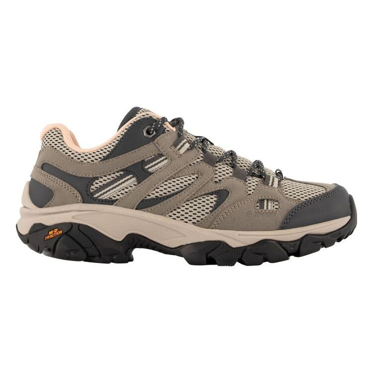 HI-TEC Women's Ravus Vent Lite Low Waterproof Hiking Shoes Taupe, Grey & Mellow Rose