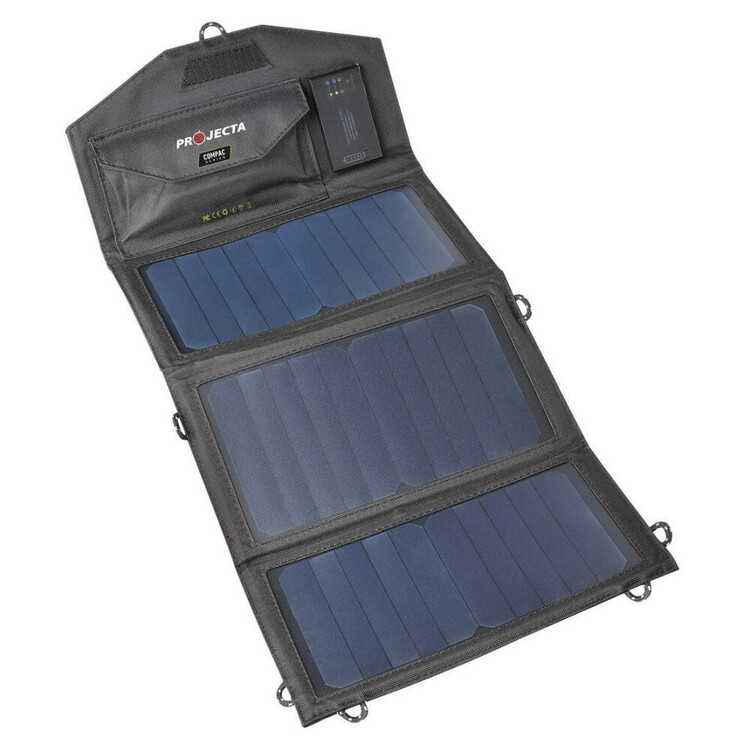 Projecta Personal Folding 10W Solar Panel with Built-In Batttery Black