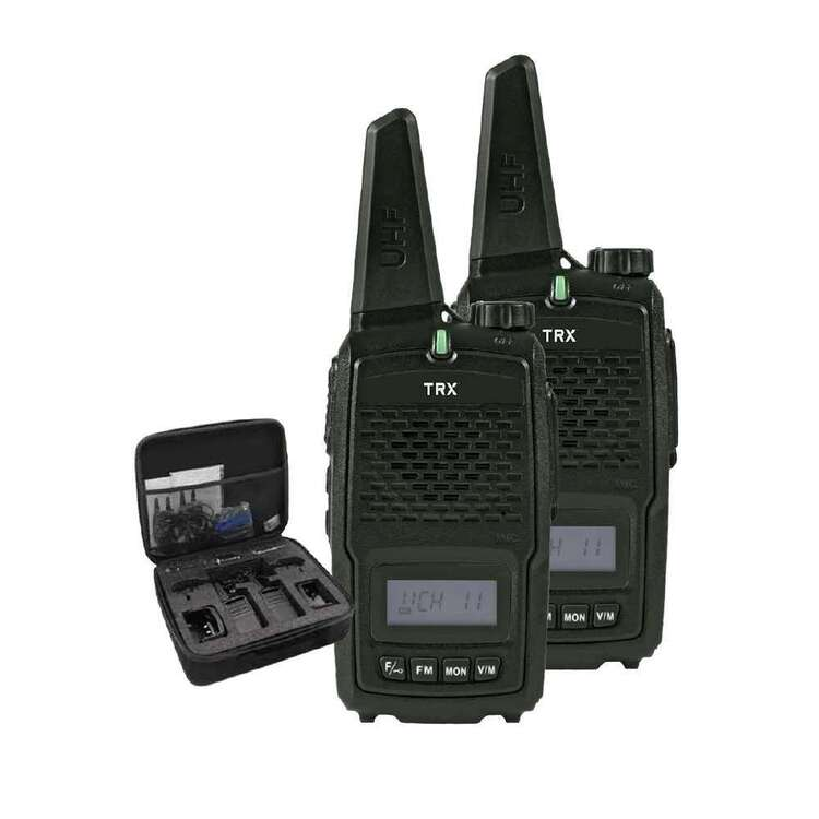 TRX UHF CB Black With Li-ion Battery 2W 2 Pack With Case