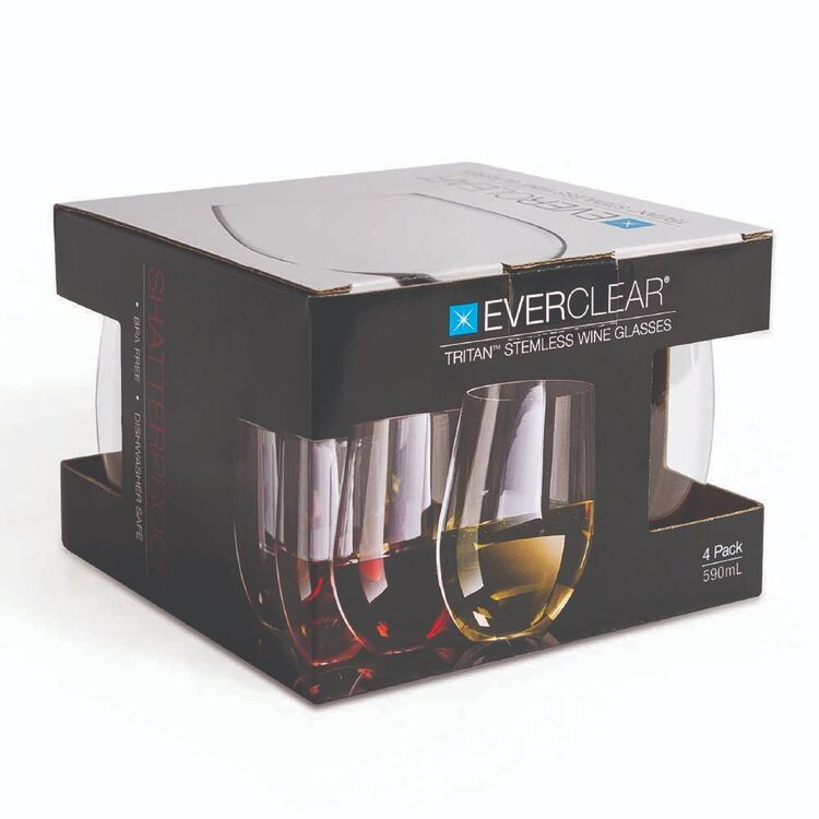 Everclear Tritan Stemless Red Wine Glass 4 Pack