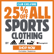 VIP Club Exclusive 25% Off adidas, Russell, Puma & Champion Sports Clothing