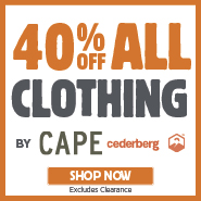 40% Off All Cape & Cederberg Clothing