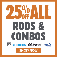 25% Off All Rods & Combos By Shimano, Shakespear & Jarvis Walker