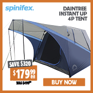 Save $320 Spinifex Daintree Instant Up 4P Tent