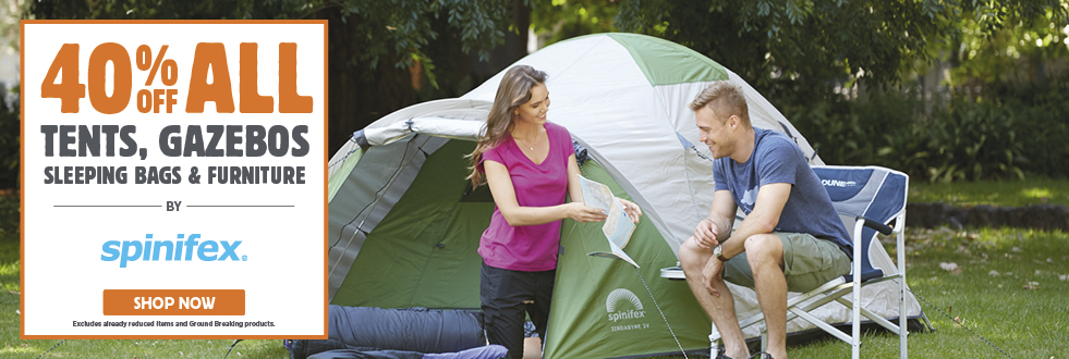 40% Off All Tents, Gazebos, Sleeping Bags & Furniture