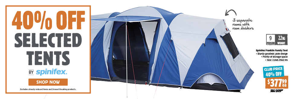 40% Off Selected Tents